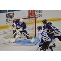 Sioux Falls Stampede goaltender blocks a shot