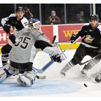 San Antonio Rampage goaltender Ville Husso fights off the Colorado Eagles' attack