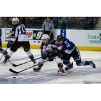 Vancouver Giants RW Jared Dmytriw holds off the Victoria Royals
