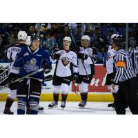 Vancouver Giants celebrate a Brayden Watts goal against the Victoria Royals