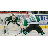 Justin Dowling of the Texas Stars eyes the Iowa Wild goal