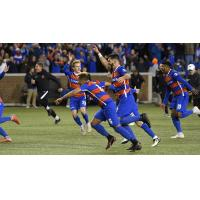 FC Cincinnati celebrates a playoff win