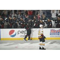 LW Eric Robinson and the Cleveland Monsters bench