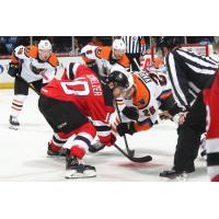 Lehigh Valley Phantoms face off with the Binghamton Devils