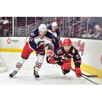 Cleveland Monsters C Ryan MacInnis (72) trips up a Grand Rapids Griffin