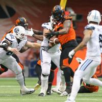 BC Lions interior defensive lineman Davon Coleman vs. the Toronto Argonauts