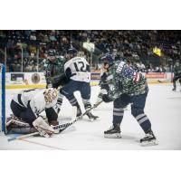 Florida Everblades RW David Friedmann vs. the Jacksonville IceMen goaltender