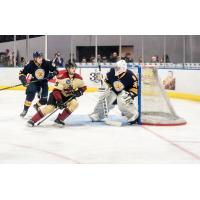 Norfolk Admirals goaltender Miroslav Svoboda fends off the Atlanta Gladiators