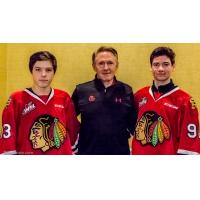 Portland Winterhawks Prospects James Stefan and Jack O'Brien with Head Coach, General Manager and Vice President Mike Johnston
