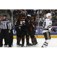 Cleveland Monsters celebrate a goal vs. the Hershey Bears