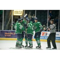 Florida Everblades celebrate one of their eight goals against the Atlanta Gladiators