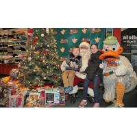 Santa Claus and QuackerJack at the Long Island Ducks' Waddle In Shop