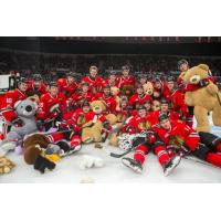 Portland Winterhawks pose after the Les Schwab Teddy Bear Toss 2017