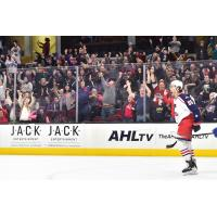 Cleveland Monsters RW Kole Sherwood celebrates with the crowd
