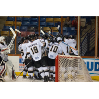 Fayetteville Marksmen celebrate Nolan Sheeran's winning goal vs. the Peoria Rivermen
