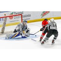 San Antonio Rampage goaltender Ville Husso makes a save in overtime