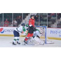 Jakob Reichert of the Adirondack Thunder in front of the Maine Mariners' net