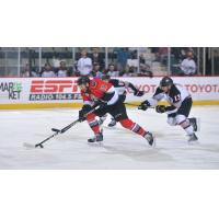 Shane Conacher of the Adirondack Thunder races up the ice against the Brampton Beast
