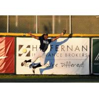 San Rafael Pacifics right fielder Javion Randle stretches to make a catch