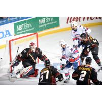 Cleveland Monsters goaltender Jean-Francois Berube faces the Rochester Americans