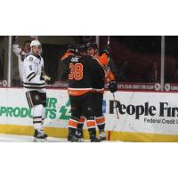 Lehigh Valley Phantoms celebrate a goal against the Hershey Bears