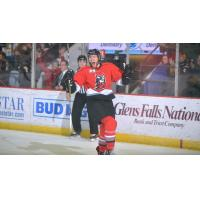 Alex Carrier of the Adirondack Thunder celebrates the only goal of the game