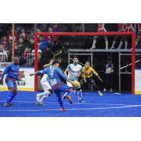 St. Louis Ambush goalkeeper Paulo and his defense face the Kansas City Comets