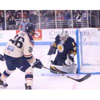 Norfolk Admirals goaltender Ty Reichenbach makes a save against the South Carolina Stingrays