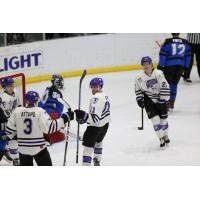 Tri-City Storm celebrate vs. the Lincoln Stars