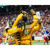 Lyle Thompson of the Georgia Swarm receives congratulations after scoring against the Toronto Rock