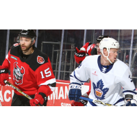 Binghamton Devils LW Nick Saracino (left) vs. the Toronto Marlies