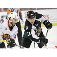 Austin Carroll of the Utah Grizzlies vs. the Indy Fuel