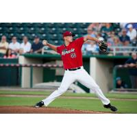 Tyler Wells pitching for the Fort Myers Miracle