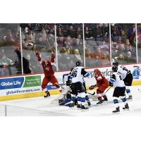 Allen Americans forward Zach Pochiro celebrates his fourth goal against the Wichita Thunder