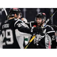 Trevor Smith (right) celebrates Jordan Kyrou's second period goal in a San Antonio Rampage win