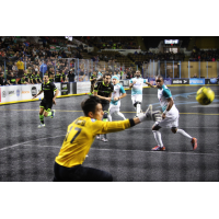 St. Louis Ambush goalkeeper Paulo lunges for a Milwaukee Wave shot attempt