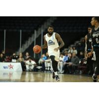 Halifax Hurricanes guard Terry Thomas heads up the court against the Moncton Magic