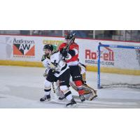 Adirondack Thunder forward James Henry sets up in front of the Wheeling Nailers goal