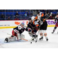 Lehigh Valley Phantoms right wing Colin McDonald battles in front of the Hartford Wolf Pack goal