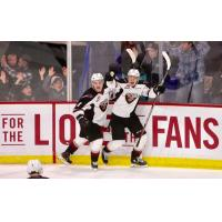 Vancouver Giants right wing Davis Koch celebrates his game-winner against the Moose Jaw Warriors