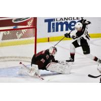 Vancouver Giants right wing Davis Koch scores the game-winning goal against the Moose Jaw Warriors