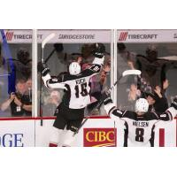 Vancouver Giants right wing Davis Koch celebrates against the Moose Jaw Warriors