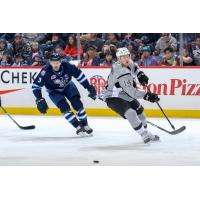 Austin Poganski of the San Antonio Rampage and Manitoba Moose defenseman Tucker Poolman