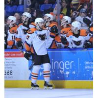 Lehigh Valley Phantoms forward Mike Huntebrinker receives congratulations from the bench after his goal