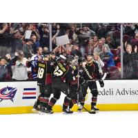 Cleveland Monsters celebrate vs. the Toronto Marlies
