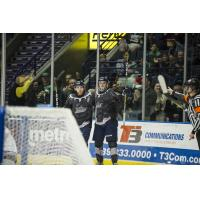 Michael Neville of the Florida Everblades (right) started the scoring for Florida against the Jacksonville IceMen