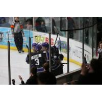 Tri-City Storm celebrate a goal against the Youngstown Phantoms