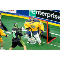 Georgia Swarm goaltender Mike Poulin stands strong against the Saskatchewan Rush