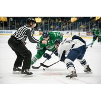 Florida Everblades forward John  McCarron's faces off with the Jacksonville IceMen