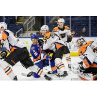 Lehigh Valley Phantoms defenseman Philip Samuelsson hits the Bridgeport Sound Tigers